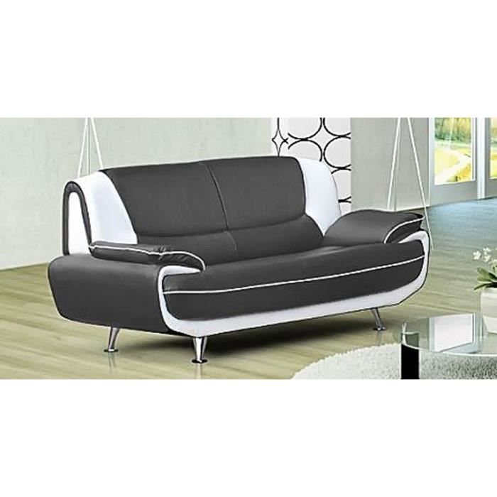 canap 3 places gris et blanc design en simili cuir achat vente canap sofa divan. Black Bedroom Furniture Sets. Home Design Ideas