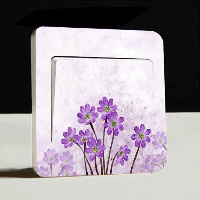 Fleurs violettes Interrupteur De Lumière Couverture Autocollant Qualité Vinyle Autocollant