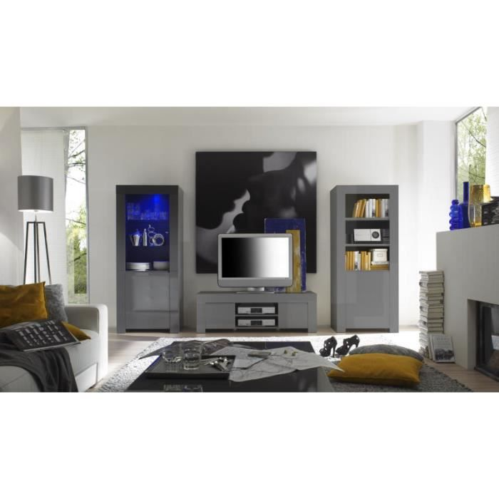 petit meuble t l laqu gris moderne 39 twice 39 achat. Black Bedroom Furniture Sets. Home Design Ideas