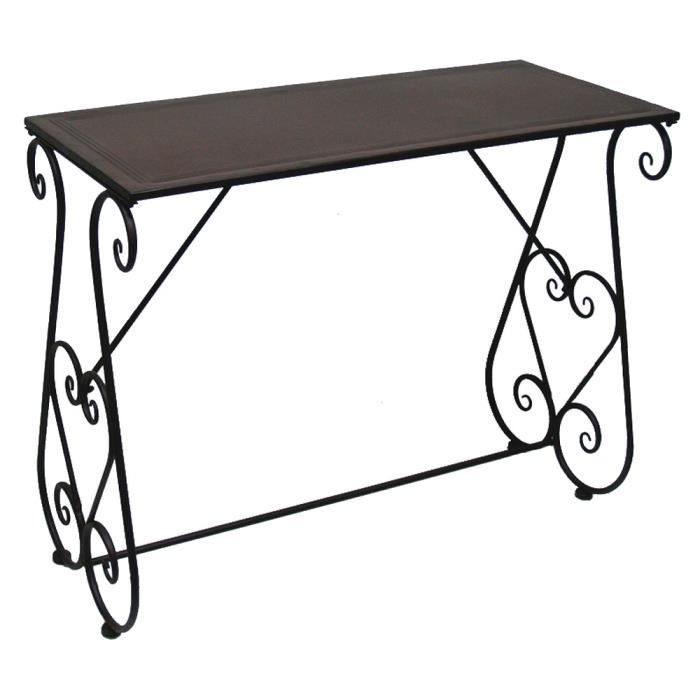 Table desserte console fer forge charme achat vente console table desserte console fer - Console entree fer forge ...