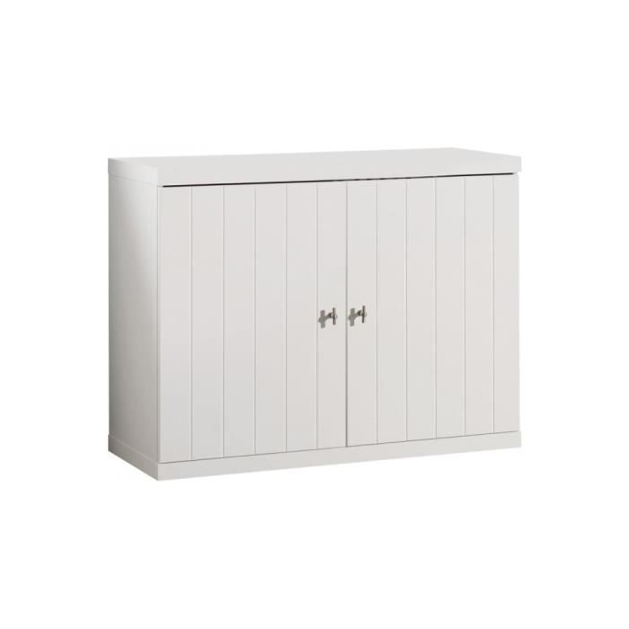 commode enfant laqu blanc 2 portes robin achat vente. Black Bedroom Furniture Sets. Home Design Ideas