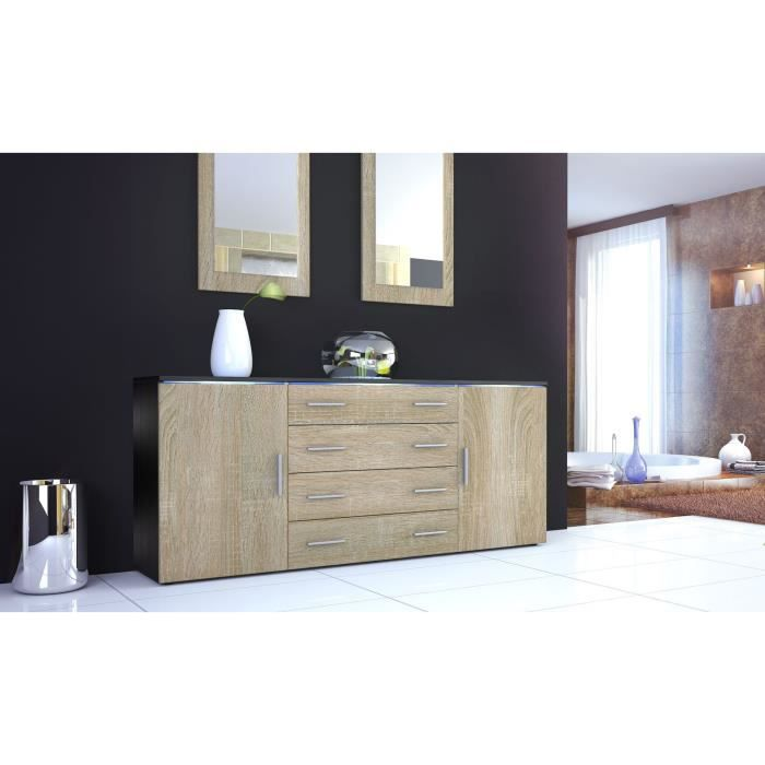 buffet enfilade noir et bois brut 4 tiroirs achat vente buffet bahut buffet enfilade noir. Black Bedroom Furniture Sets. Home Design Ideas