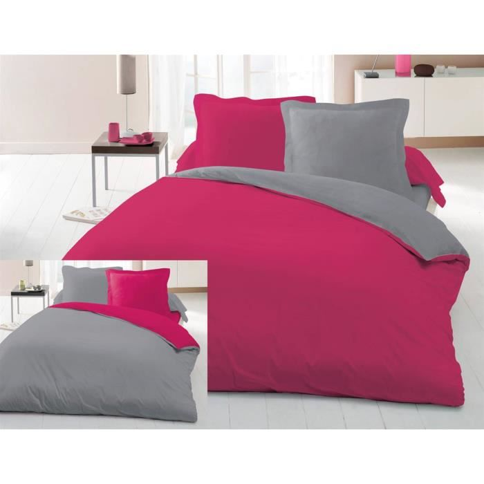 housse de couette bicolore 240x260 cm 2 taies polycoton 57 fils fuchsia gris achat. Black Bedroom Furniture Sets. Home Design Ideas