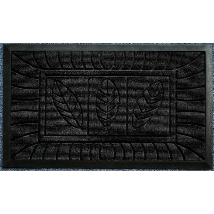 tapis d 39 entr e 45x75cm feuilles noir achat vente tapis. Black Bedroom Furniture Sets. Home Design Ideas