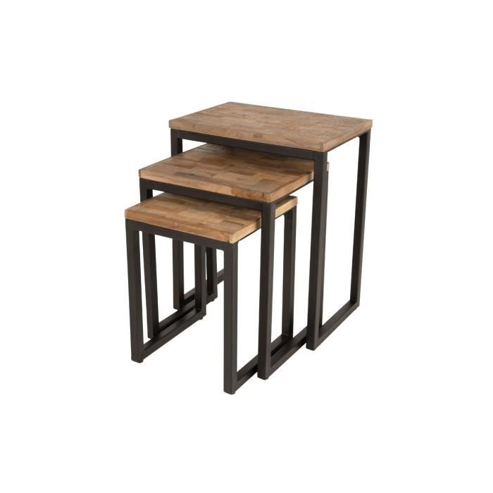 set de 3 tables gigognes en teck recycl suri couleur bois m tal achat vente table d. Black Bedroom Furniture Sets. Home Design Ideas