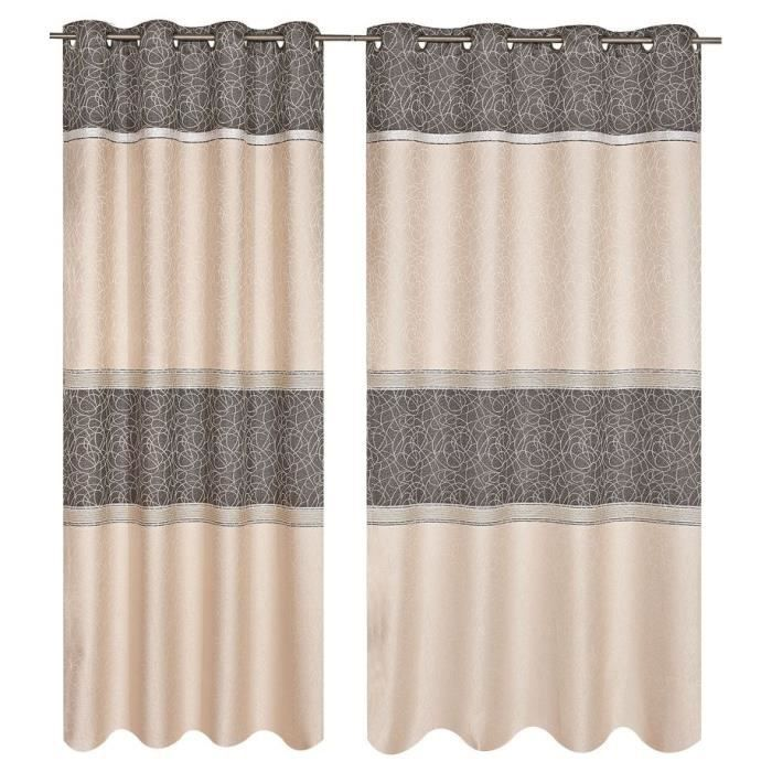 double rideau jacquard 140x260cm gris achat vente rideau 100 polyester les soldes sur. Black Bedroom Furniture Sets. Home Design Ideas