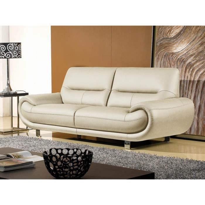 canap cuir 3 places angie beige achat vente canap sofa divan cdiscount. Black Bedroom Furniture Sets. Home Design Ideas