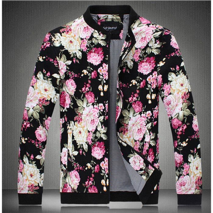 fleurs imprime homme veste cardigan manches l blanc achat vente blouson cdiscount. Black Bedroom Furniture Sets. Home Design Ideas