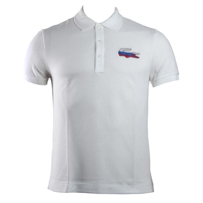 e12bde3403 Polos Lacoste Ess Country Flags Russia White - Achat / Vente polo ...