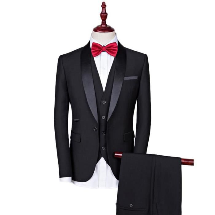 costume 3 pi ces homme col ch le mode costume de mariage v tement de c r monie noir achat. Black Bedroom Furniture Sets. Home Design Ideas