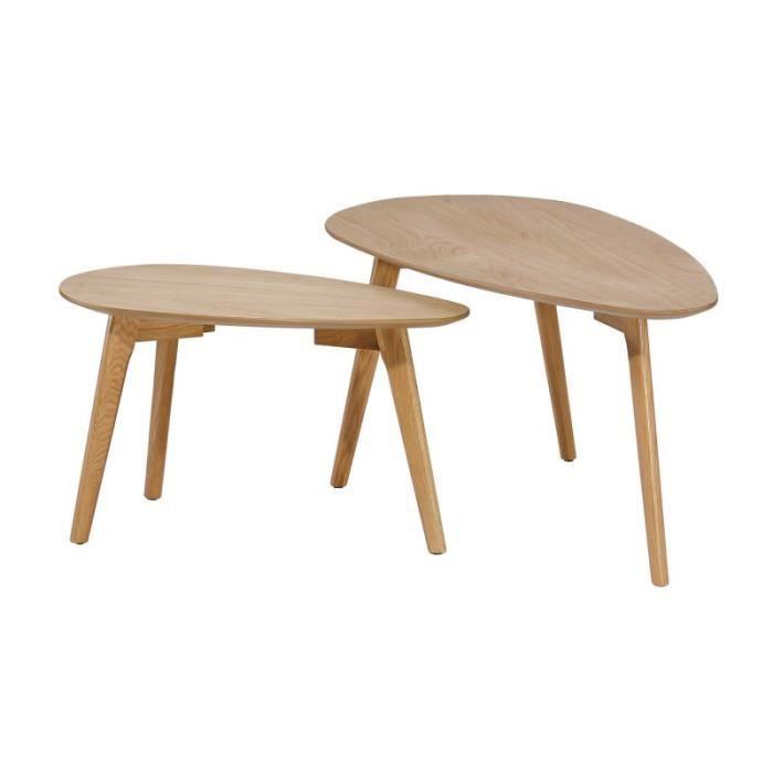 "TABLE BASSE Set De 2 Tables Basses Gigognes ""wacha"" Chêne - Pa"