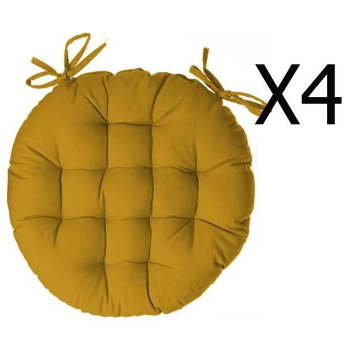 PEGANE Lot de 4 galettes de Chaise Ronde en Coton Coloris Gris fonc/é Diam/ètre 38 cm