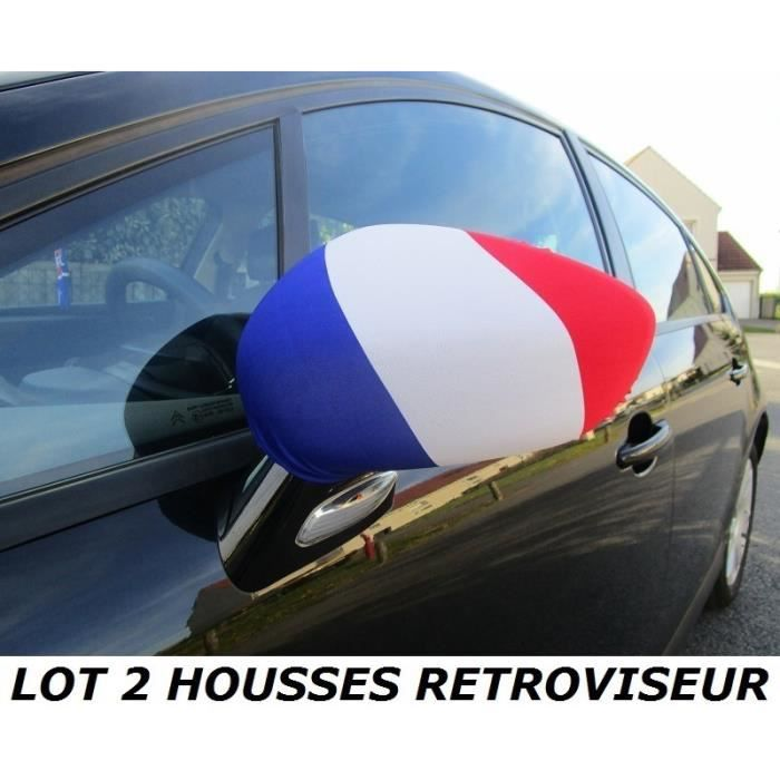 euro 2016 pack 2 housses retroviseur voiture drapeau france francais no maillot charpe. Black Bedroom Furniture Sets. Home Design Ideas