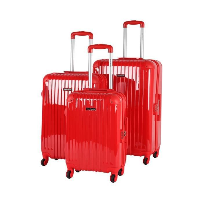bagage travel world lot de 3 valise rigide rouge achat. Black Bedroom Furniture Sets. Home Design Ideas