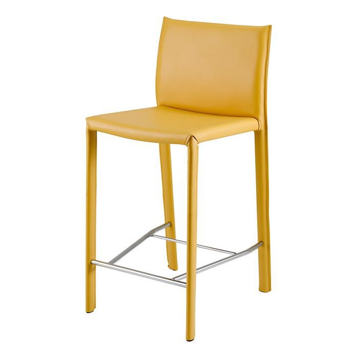 tabouret de bar en synderme jaune terra achat vente tabouret jaune cdiscount. Black Bedroom Furniture Sets. Home Design Ideas
