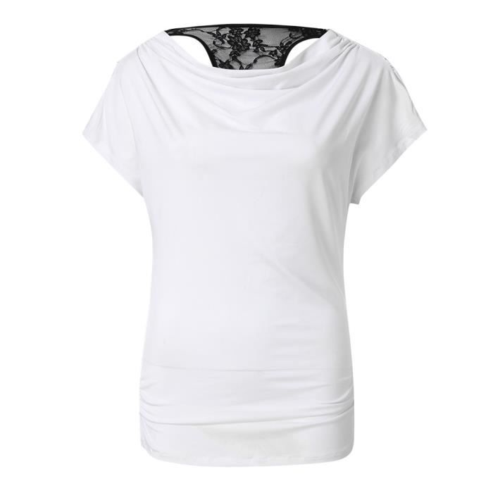 Chemisier Mode Casual cou Hauts shirt T Solide Blanc O Court Courtes Femmes Manches UPwx1ndqU