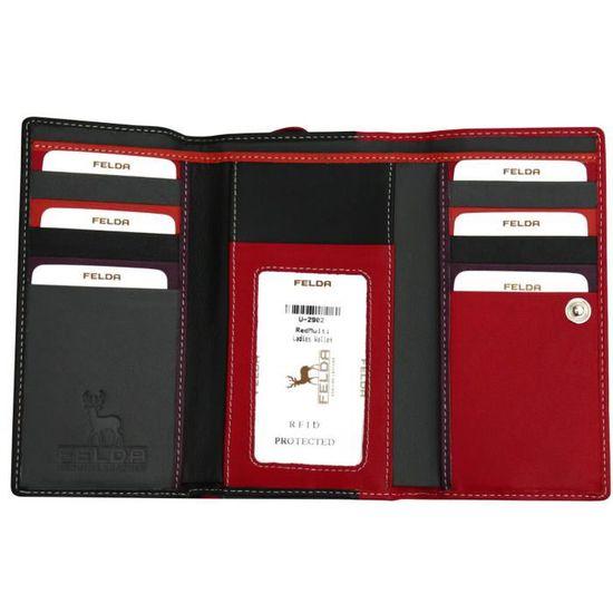 Porte-Monnaie Simple en Cuir v/éritable Nappa avec Protection RFID 12 Compartiments pour Cartes et Pochette pour Monnaie en Format Paysage Noir