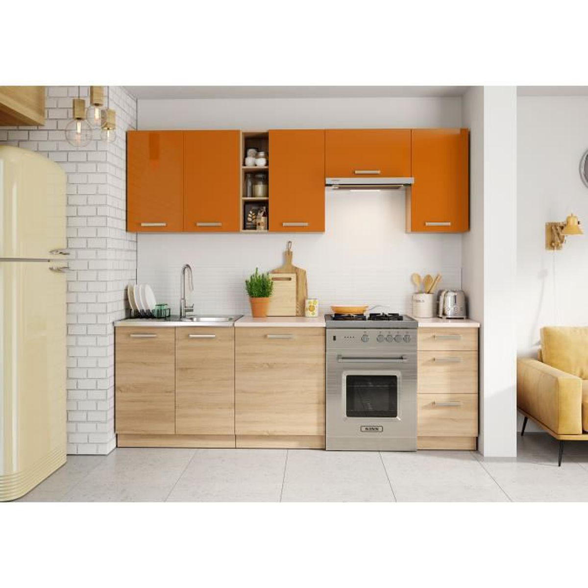 cuisine lena 2m40 7 meubles orange beige achat vente cuisine compl te cuisine lena 2m40. Black Bedroom Furniture Sets. Home Design Ideas
