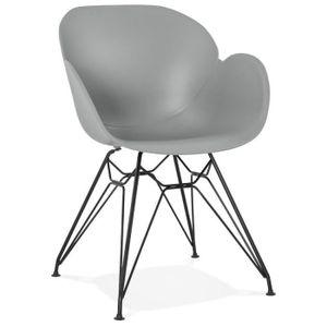 CHAISE HO - Chaise design grise style industriel avec pie