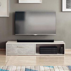 MEUBLE TV Meuble TV - ROLLO - 140 cm - blanc / béton - compa
