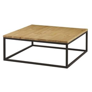 TABLE BASSE Table basse carrée style contemporain en bois pin