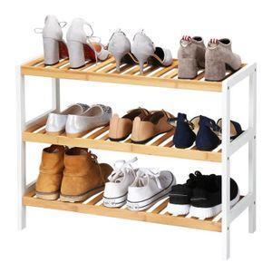 MEUBLE À CHAUSSURES Étagère à Chaussures à 3 Niveaux Bambou 70 x 25 x