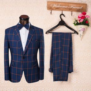 COSTUME - TAILLEUR costume homme Bleu carreau complet Single-fente Co