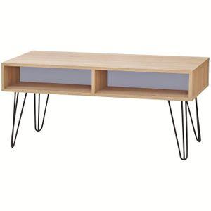 TABLE BASSE Table Basse Meuble Design Loft Bicolore 4 Niches D