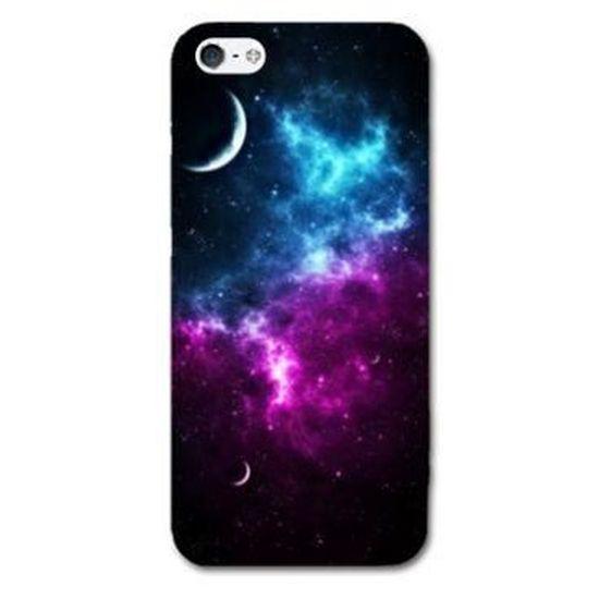 Coque iphone 5 / 5S Espace Univers Galaxie - - Bleu violet -