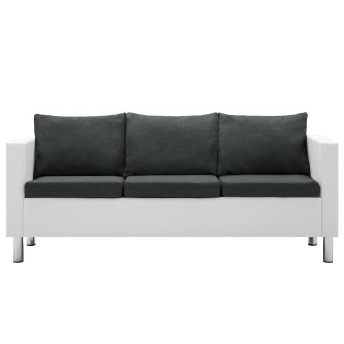 Canapé droit fixe à 3 places Faux cuir Blanc et gris foncé