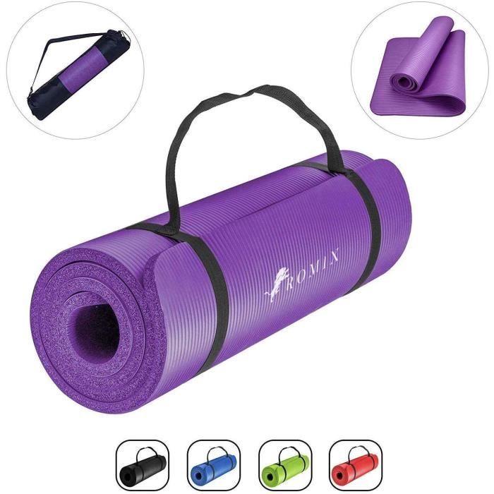 ROMIX Tapis Yoga, 10MM Epais Anti-dérapant Écologique Gymnastique Yoga Mat avec Sac de Transport et Sangle, Premium Non Toxique Fitn