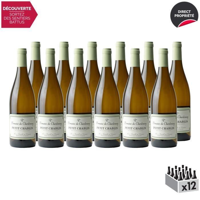 Petit Chablis Sans Sulfites Blanc 2019 - Lot de 12x75cl - Domaine du Chardonnay - Vin AOC Blanc de Bourgogne - Cépage Chardonnay