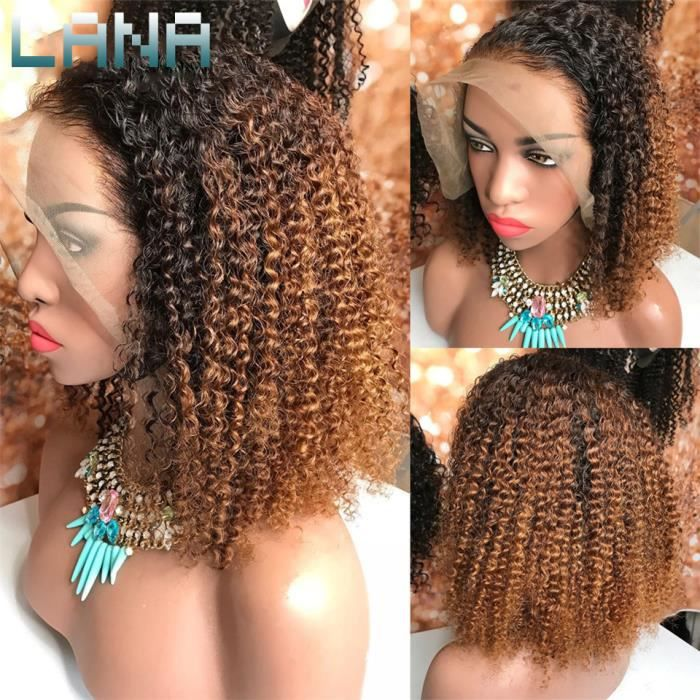 Afro Kinky Curly Perruque 14-Lace Front Wigs 1b-30 Ombre cheveux humains