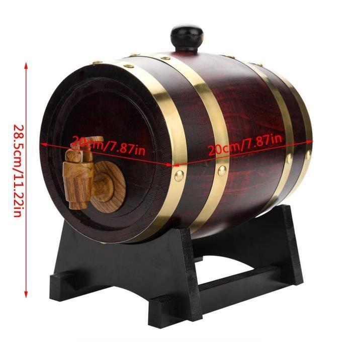 1.5L tonneau en bois de chêne avec support pour le stockage des vins 20 x 20 x 28.5cm