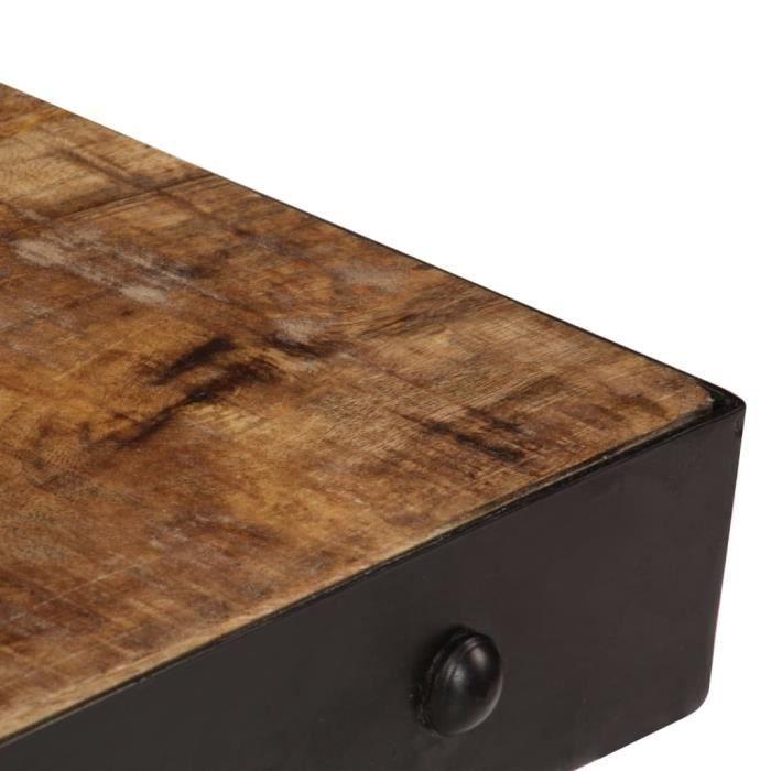 Chic - Table basse Scandinave - Bout de canapé Table à thé avec roulettes Bois de manguier massif 100x60x26 cm @505243