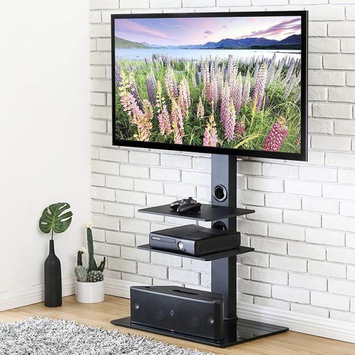 ChangM Meuble TV avec Support Pivotant Cantilever pour Téléviseur de 32 Pouce à 65 Pouce Ecran LED LCD Plasma avec 3 Etagères