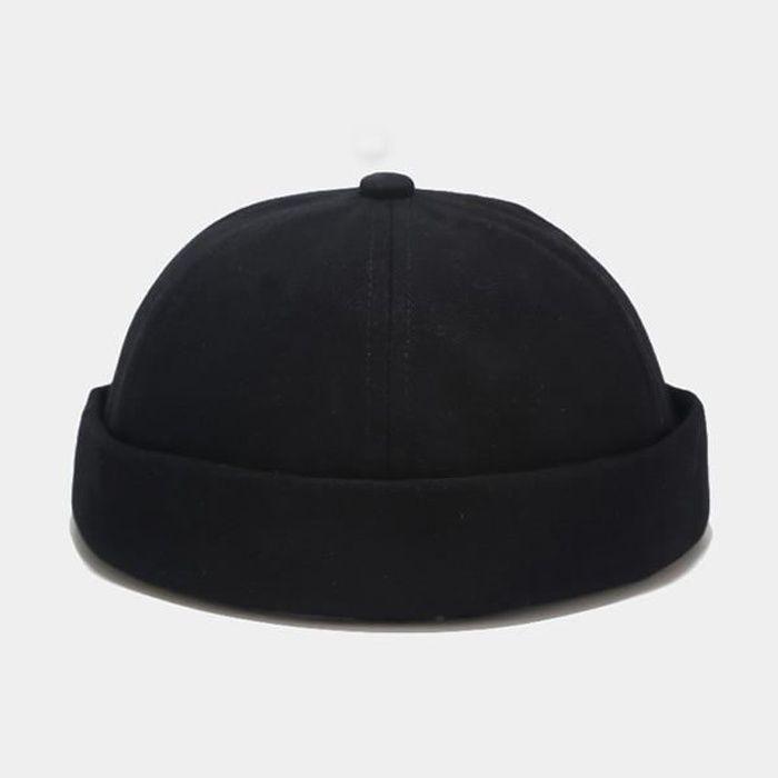 black Taille unique -Docker casquette de motard solide unisexe sans bride pour homme, bonnet de marin ajustable et décontracté, chap