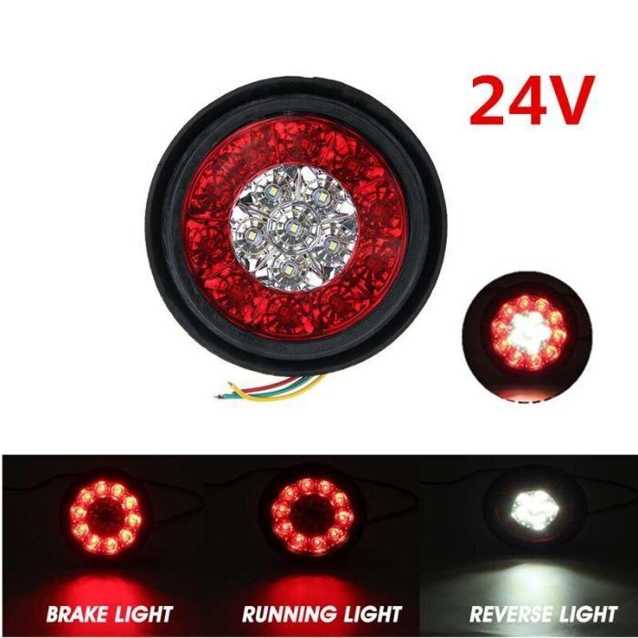 1pc 24V Red White -Feu arrière rond LED ambre rouge 16LED 12V-24V, feu de Stop et marche arrière pour voiture camion remorque
