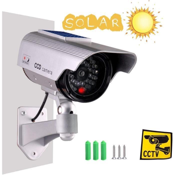 Caméras factices avec Panneau Solaire Fausse de Sécurité Caméra CCTV avec LED Lumière pour Usage Intérieur Extérieur Noir