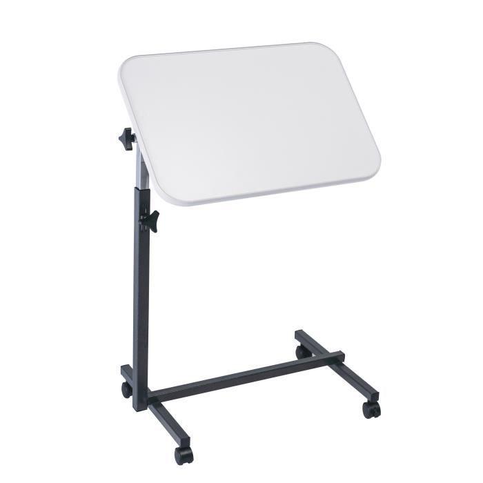 Table de lit à roulettes - Table d'appoint avec roulettes pour lit et canapé - Couleur grise