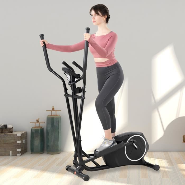 GEARSTONE Vélo Elliptique Vélo d'exercice avec 8 Niveaux de Résistance avec écran LCD Idéal pour Fitness Domicile Noir Blanc