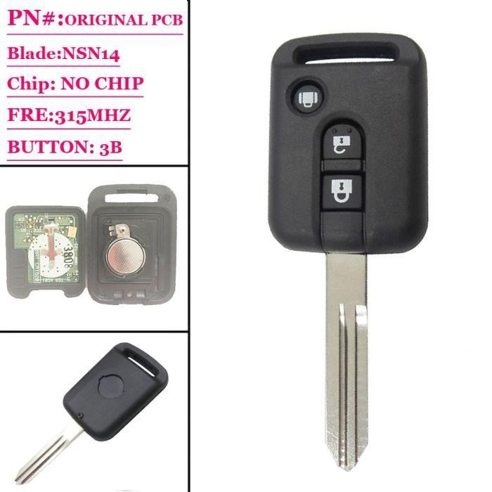 Clé Télécommande de Remplacement à 3 Boutons, 315 MHz, Sans puce, pour Nissan Micra Navara Almera Qashqai Pat