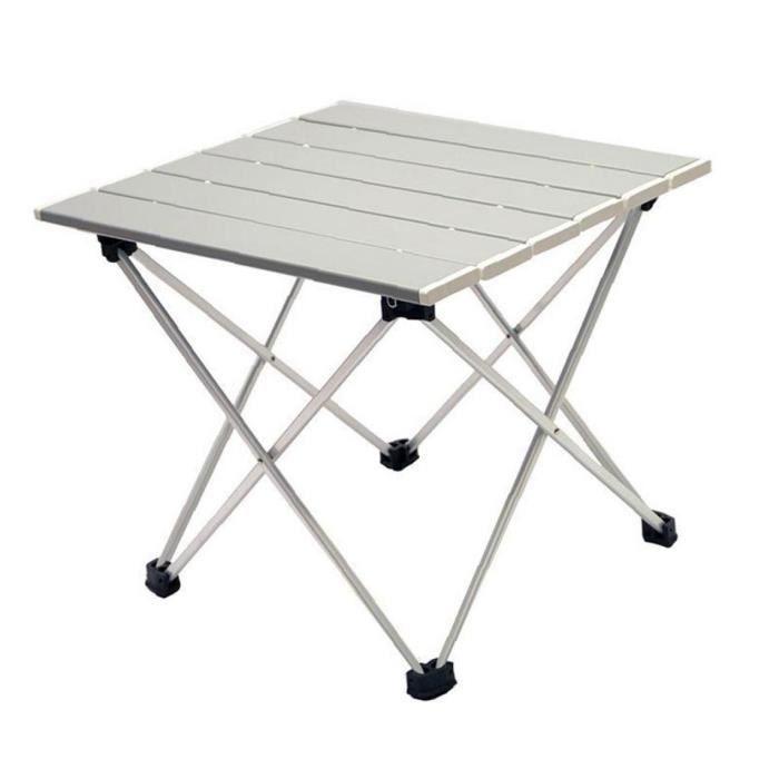 Camping Table pliante Portable pique-nique Table de pêche léger barbecue en aluminium gris Table