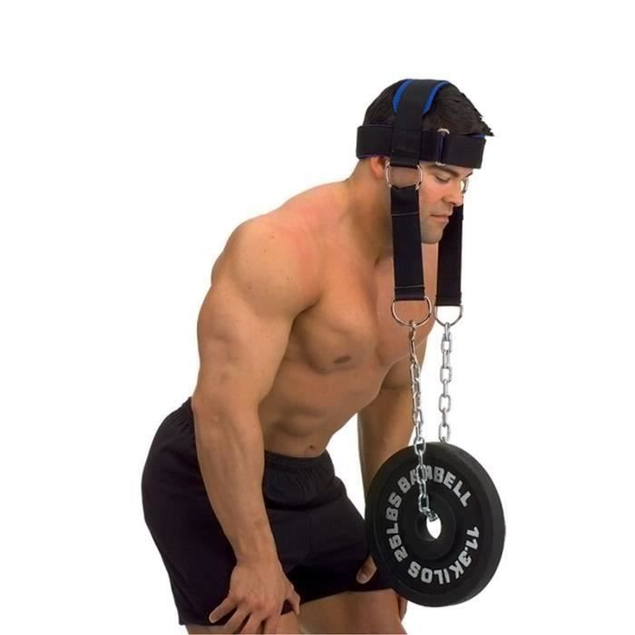Harnais de tête force du cou Ceinture d'exercice haltérophilie Fitness chaîne sangle cou poids levage force exercice Fitness sangle