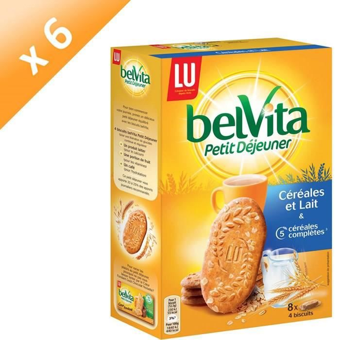[LOT DE 6] Biscuit petit déjeuner chocolat noisette 400g Belvita