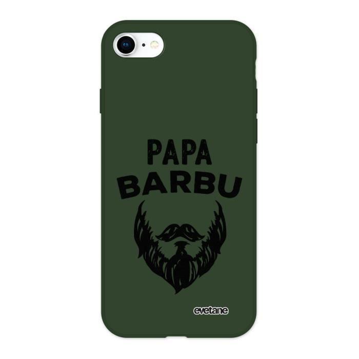 Coque iPhone 7/8 Silicone Liquide Douce vert caki Papa Barbu Ecriture Tendance et Design Evetane