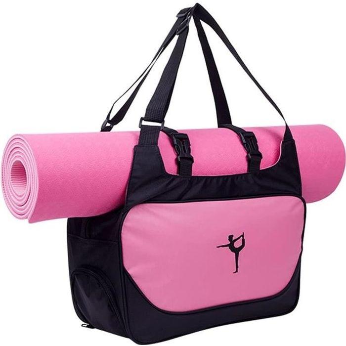 Sac Tapis de Yoga Sac de Yoga Sacs de Sport Sac à Bandoulière Imperméable Antiderapant Pliable sans Tapis de Yoga Rose