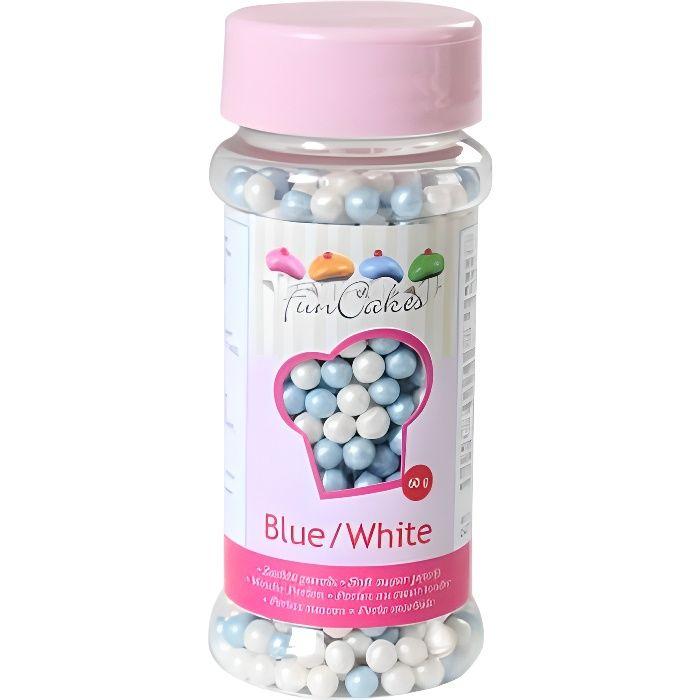 Funcakes - Perles de sucre bleu et blanc nacré - 80 gr