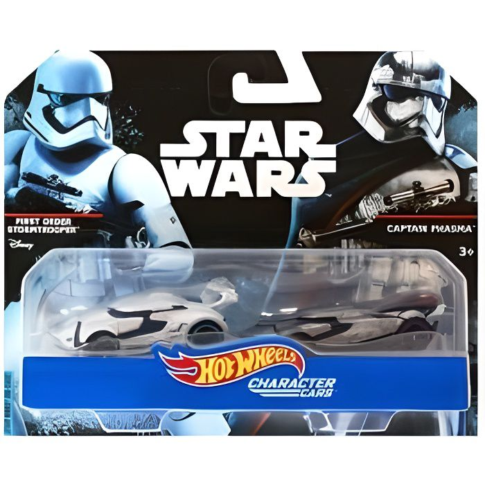 Pack De 2 Voitures Star Wars First Order Stormtrooper Et Captain Phasma - Vehicule Hot Wheels Character Cars - Mattel