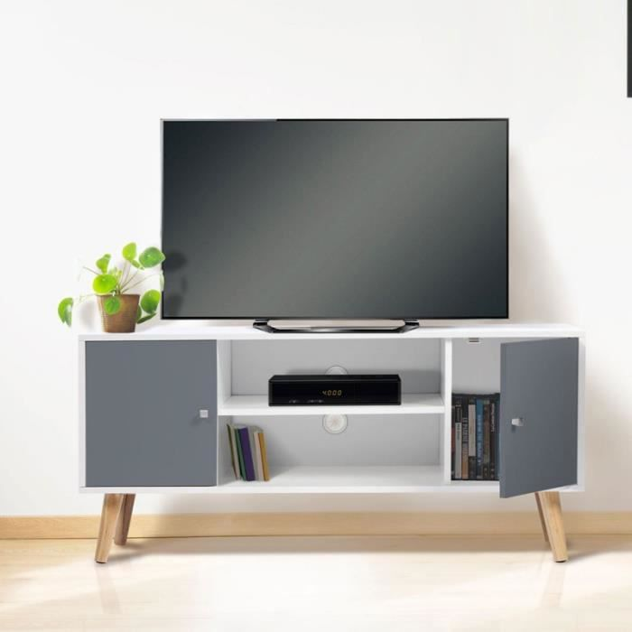 Meuble TV EFFIE scandinave bois blanc et gris